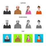 Vektordesign av frisyr- och yrketecknet Ställ in av frisyr- och teckenmaterielsymbolet för rengöringsduk royaltyfri illustrationer