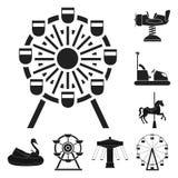 Vektordesign av gyckel och hästlogoen Ställ in av gyckel och cirkusmaterielsymbolet för rengöringsduk royaltyfri illustrationer