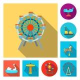 Vektordesign av gyckel och hästtecknet Ställ in av gyckel och cirkusmaterielsymbolet för rengöringsduk stock illustrationer