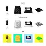 Vektordesign av hantverket och att handcraft logo St?ll in av hantverk- och branschmaterielsymbolet f?r reng?ringsduk vektor illustrationer