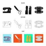 Vektordesign av hantverket och att handcraft symbol St?ll in av hantverk- och branschmaterielsymbolet f?r reng?ringsduk stock illustrationer
