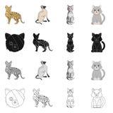Vektordesign av husdjur- och sphynxlogoen St?ll in av husdjur och den roliga vektorsymbolen f?r materiel royaltyfri illustrationer