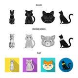Vektordesign av husdjur- och sphynxlogoen St?ll in av husdjur och gyckelmaterielsymbolet f?r reng?ringsduk vektor illustrationer