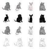 Vektordesign av husdjur- och sphynxsymbolen Samlingen av husdjuret och gyckel lagerf?r symbolet f?r reng?ringsduk stock illustrationer