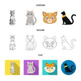 Vektordesign av husdjur- och sphynxsymbolen St?ll in av husdjur och den roliga vektorsymbolen f?r materiel stock illustrationer