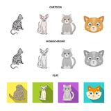 Vektordesign av husdjur- och sphynxsymbolet St?ll in av husdjur och den roliga vektorsymbolen f?r materiel royaltyfri illustrationer