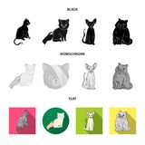 Vektordesign av husdjur- och sphynxsymbolet St?ll in av husdjur och gyckelmaterielsymbolet f?r reng?ringsduk stock illustrationer