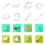 Vektordesign av kök- och kocksymbolen Uppsättning av kök- och anordningmaterielsymbolet för rengöringsduk vektor illustrationer