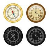 Vektordesign av klockan och tidsymbolen Samling av klocka- och cirkelmaterielsymbolet för rengöringsduk royaltyfri illustrationer