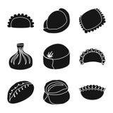 Vektordesign av kokkonst och aptitretaresymbolen St?ll in av illustration f?r kokkonst- och matmaterielvektor stock illustrationer