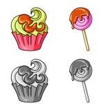 Vektordesign av konfekt och det kulinariska symbolet St?ll in av illustration f?r konfekt- och produktmaterielvektor royaltyfri illustrationer