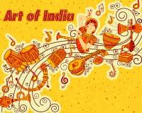 Vektordesign av konst och musik Indien Arkivbilder
