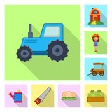 Vektordesign av lantgård- och jordbruksymbolet Samling av lantgård- och växtvektorsymbolen för materiel stock illustrationer