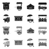 Vektordesign av marknads- och yttersidasymbolet Samling av marknads- och matvektorsymbolen för materiel stock illustrationer