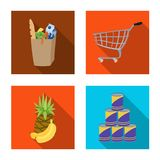 Vektordesign av mat- och drinksymbolen Samling av mat och illustrationen för lagermaterielvektor royaltyfri illustrationer
