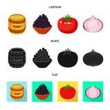 Vektordesign av smak och produktlogoen Samling av smak och att laga mat vektorsymbolen f?r materiel stock illustrationer