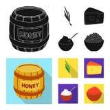Vektordesign av smak och produktlogoen Samlingen av smak och att laga mat lagerf?r vektorillustrationen royaltyfri illustrationer