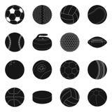 Vektordesign av sport- och bolltecknet Uppsättning av sporten och det idrotts- materielsymbolet för rengöringsduk stock illustrationer