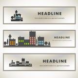 Vektordesign av svart konturcityscape eps Royaltyfria Bilder