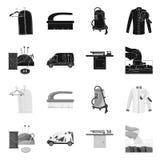 Vektordesign av tvätterit och den rena logoen Samling av tvätteri- och klädervektorsymbolen för materiel stock illustrationer