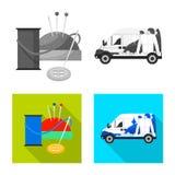 Vektordesign av tvätterit och den rena logoen Uppsättning av tvätteri- och klädervektorsymbolen för materiel vektor illustrationer