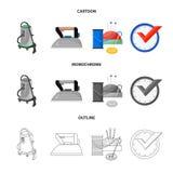 Vektordesign av tvätterit och det rena symbolet Uppsättningen av tvätterit och kläder lagerför vektorillustrationen royaltyfri illustrationer