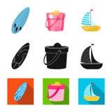 Vektordesign av utrustning- och simningsymbolet Uppsättning av utrustning och aktivitetsvektorsymbol för materiel royaltyfri illustrationer