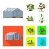 Vektordesign av växthus- och växtsymbolet Samling av växthus- och trädgårdmaterielsymbolet för rengöringsduk stock illustrationer