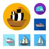 Vektordesign av yacht- och skepptecknet Samling av yacht- och kryssningvektorsymbolen för materiel royaltyfri illustrationer