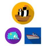 Vektordesign av yacht- och skepptecknet Ställ in av illustration för yacht- och kryssningmaterielvektor stock illustrationer