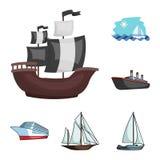 Vektordesign av yacht- och skepptecknet Ställ in av illustration för yacht- och kryssningmaterielvektor royaltyfri illustrationer