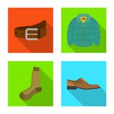Vektordesign der Mann- und Kleidungsikone Satz des Mannes und des Abnutzungsaktiensymbols f?r Netz stock abbildung