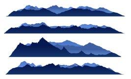 Vektordesign des Bergblicks des blauen Himmels gesetztes Stockfotos