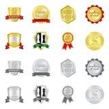 Vektordesign des Emblem- und Ausweissymbols Sammlung der Emblem- und Aufklebervektorikone für Vorrat stock abbildung
