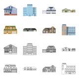 Vektordesign des Gebäudes und des vorderen Symbols Satz des Gebäude- und Dachaktiensymbols für Netz lizenzfreie abbildung