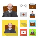 Vektordesign des Gesetzes und der Rechtsanwaltikone Sammlung des Gesetzes- und Gerechtigkeitsaktiensymbols für Netz stock abbildung