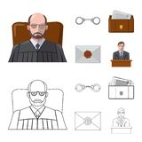Vektordesign des Gesetzes und des Rechtsanwaltlogos Sammlung des Gesetzes- und Gerechtigkeitsaktiensymbols für Netz vektor abbildung