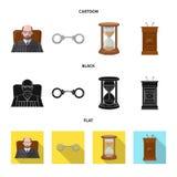Vektordesign des Gesetzes und des Rechtsanwaltzeichens Satz Gesetzes- und der Gerechtigkeitvektorillustration der auf Lager stock abbildung