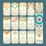 Vektordesign des Kalender-2016 Woche beginnt Sonntag lizenzfreie stockfotografie