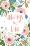 Vektordesign för feriehälsningkort och inbjudan av bröllopet, bokstäverinskrift med blom- bakgrund royaltyfri illustrationer