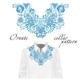 Vektordesign för krageskjortor, blusar Färgrik etnisk blommahals royaltyfri illustrationer