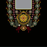 Vektordesign för krageskjortor, blusar, T-tröja Hals för två blommor för färger etnisk Paisley dekorativ gräns vektor illustrationer