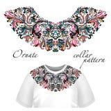 Vektordesign för kraget-skjortor och blusar Färgrik etnisk blommahalslinje Broderi för mode vektor illustrationer