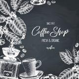 Vektordesign med illustrationer för kaffe för färgpulverhand utdragna Arabicaväxten med sidor och frukter skissar Tappningmall fö vektor illustrationer