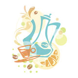 Vektordesign med kaffebeståndsdelar Arkivfoto
