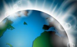 Vektordesign med planetjordsoluppgång eller bristning av ljus i utrymme. stock illustrationer