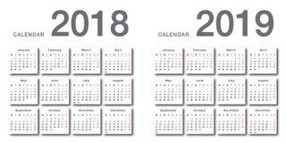 Vektordesign-Schablonen-, einfaches und sauberesdesign des bunten Kalenders des Jahres 2018 und des Jahres 2019 horizontales 8 lizenzfreie abbildung