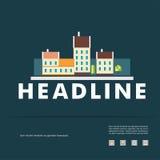 Vektordesign von schwarzem Schattenbildstadtbild ENV Lizenzfreie Stockfotos