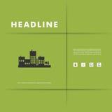 Vektordesign von schwarzem Schattenbildstadtbild ENV Stockfotografie