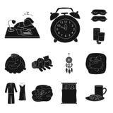 Vektordesign von Träumen und von Nachtsymbol Satz von Träumen und von Schlafzimmeraktiensymbol für Netz lizenzfreie abbildung